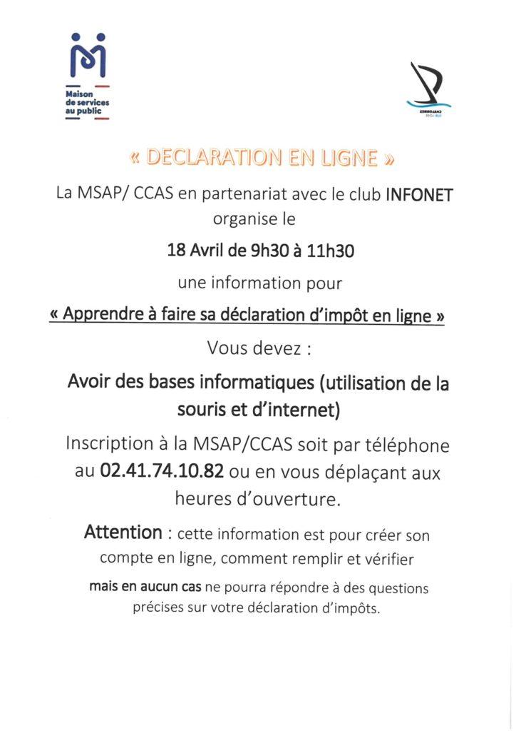 Apprendre A Faire Sa Declaration D Impot En Ligne Rochefort Sur Loire
